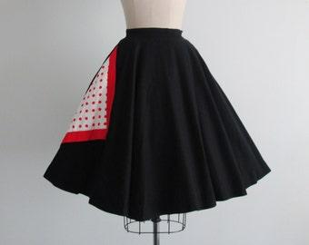 50's Circle Skirt // Vintage 1950's Polkadot Pique Cotton Full 360 Degree Circle Skirt XS