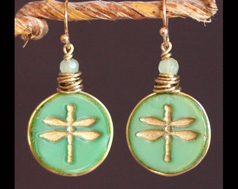 Vintage Dragonfly Green & Gold Gilded Glass Button Earrings