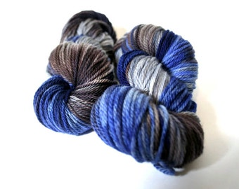 Hand dyed Yarn Superwash Merino Clover Worsted Cobalt Swoon Fibers