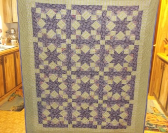 """FIGS BATIK QUILT   Final Markdown lap 53"""" X 62"""" with plums and green and purple stripes and orange"""