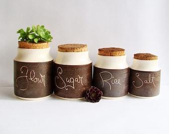1970s Kitchen Canisters, Hanstan Ceramic Storage Jars, Retro Kitchen Decor, 70s Home, Flour, Sugar, Rice, Salt