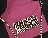 Childs apron purple zebra little apron small size children's apron