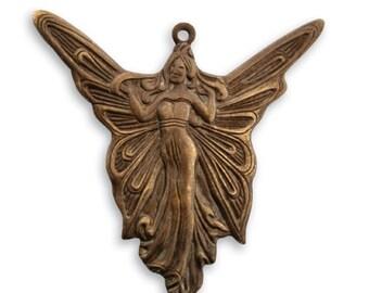 Vintaj Brass Art Nouveau Style Fairy Fairie Charm Pendant Focal Antiqued Brass Ox Angel Vintage Deco Style 30 x 30mm Qty 1