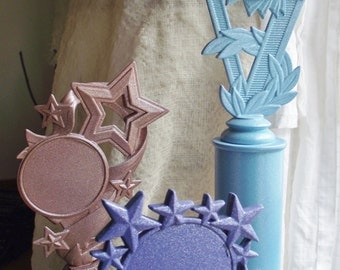 Trophy Set Copper Glitter Turquoise painted award wedding photo prop decoration grooms cake table decor college home accent teacher gift