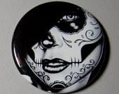 25 PERCENT OFF 2.25 inch Pin Back Button - Lolita - Day of the Dead Sugar Skull Girl Calavera Black and White Tattoo Flash Gothic Lolita Ske