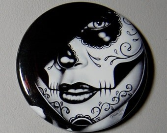 2.25 inch Pin Back Button - Lolita - Day of the Dead Sugar Skull Girl Calavera Black and White Tattoo Flash Gothic Lolita Skeleton Pin