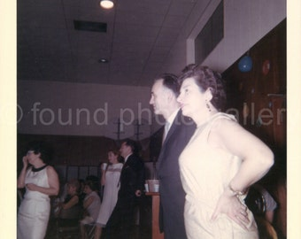 Vintage Photo, Couple at Party, Party Dresses, Color Photo, Found Photo, Snapshot, Old Photo, Family Photo, Vernacular Photo, Candid Photo