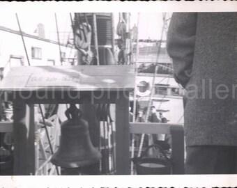 Vintage Photo, Mayflower II Ship, Antique Ship, Black & White Photo, Ship's Bell, New York Harbor, Snapshot, Found Photo, Deckled Edge