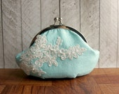 Pale turquoise clutch, silk clutch with ivory lace, kisslock purse, light blue clutch purse wristlet, robins egg blue