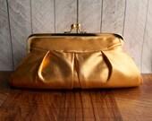 Clearance. Burnt orange formal clutch purse, party clutch, Metallic purse, Metallic clutch, copper clutch bag in frame