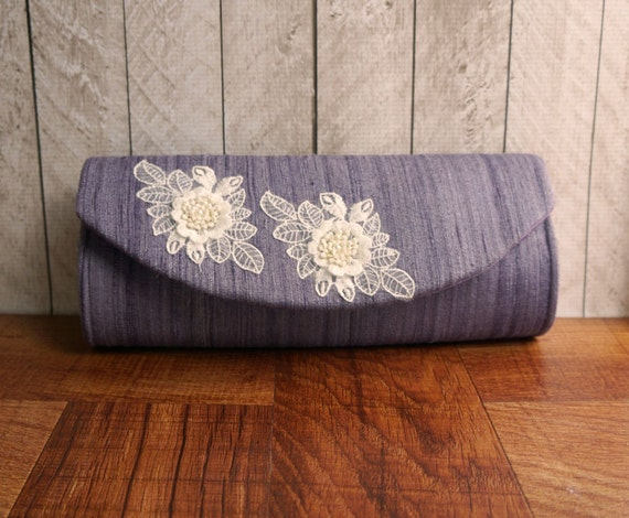 Purple clutch purse, silk evening bag, ivory lace flower appliques, wedding clutch