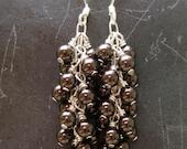 Brown Pearl Waterfall Earrings