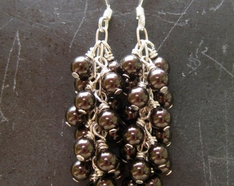 Brown Pearl Waterfall Earrings