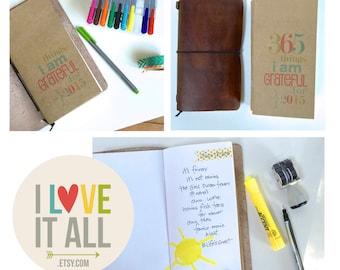 Gratitude Journal . Midori Travelers Notebook Size Insert . MTN Fauxdori Standard Refill  . Grateful Thankful Blessed Mini Stocking Stuffer