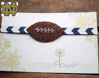 Beaded Rhinestone Notre Dame Football Headband