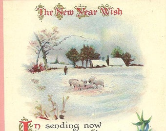 New Year Wish Poem Snow Covered Farm and Flock of Sheep Vintage New Year's Postcard 1915