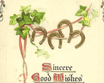 Quartet of Golden Horseshoes on Ribbon and Ivy Swag Embossed Vintage Christmas Postcard 1909 Tuck & Sons