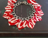 10 Red Heart Bracelet.. DOUBLE-sided.  Recycled Soda Can Art.  Coca Cola