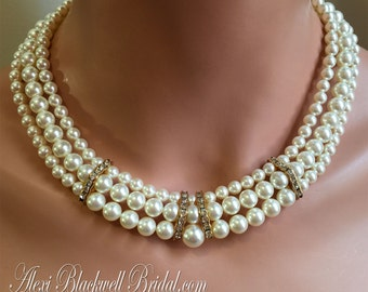 COMPLETE Bridal Jewelry Set with Pearl Necklace Bracelet and Earrings in Gold or Silver and 3 strands Swarovski pearls in choice of color