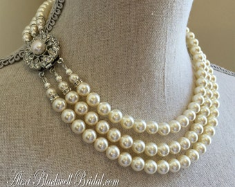 Bridal Pearl Necklace Set vintage style like Jackie O 3 Multi Strand of Swarovski pearls in white perfect wedding jewelry