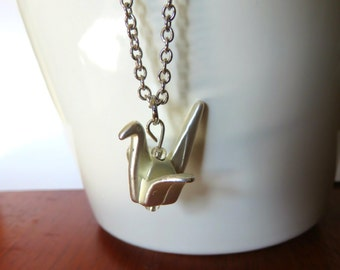 Origami Crane Charm Necklace - tween gift, charm necklace, long necklace, good luck, chic