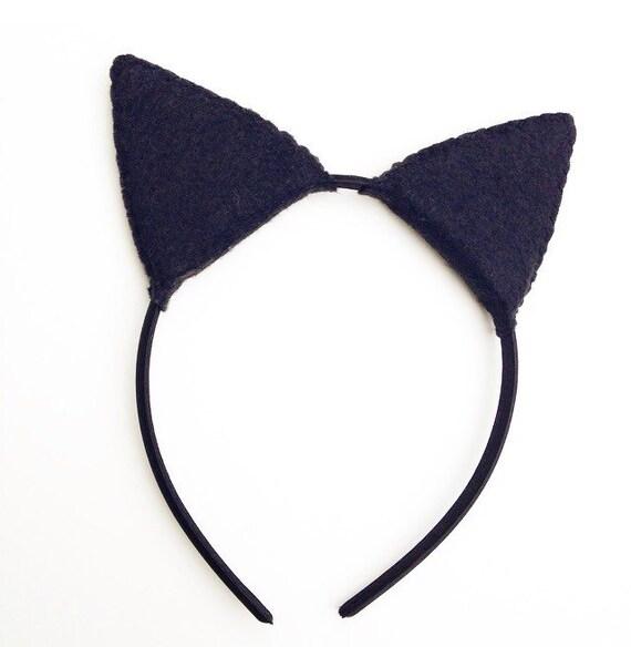 Wool Felt Black Cat Plush Ears Headband