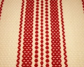 Stunning Garnet Red and Ivory 19th Century Linsey Woolsey Overshot Coverlet Piece - 36 by 23 Inches