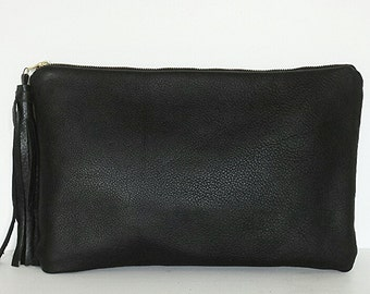 Black Leather Clutch, Oversized Leather Purse