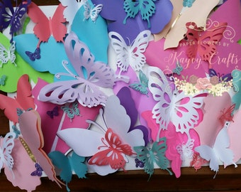 Mixed colors Large paper Butterflies wall Decor. Great for Birthdays, Baby shower, Weddings Decorations, House Decor -  Custom colors avai