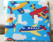 Airplanes Clouds Double Light Switch Plate Cover, Kid's Bedroom, Playroom