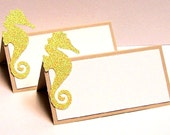 Set of 10 Seahorse Place Cards
