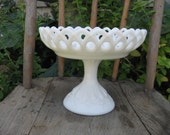 lace edged milkglass compote teardrops diamonds white wedding cottage decor shabby
