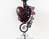 OOAK Purple goth wire wrapped heart pendant