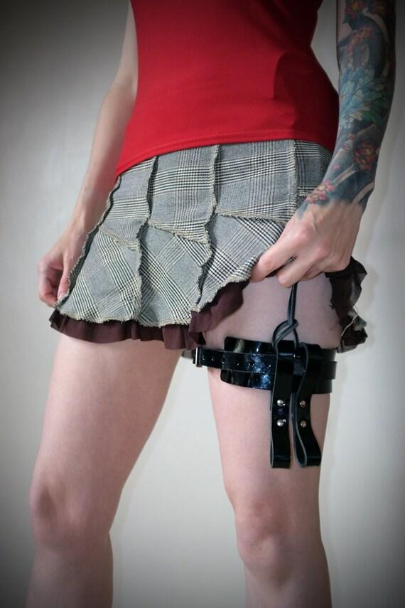 leather garter belt black patent steunk burning