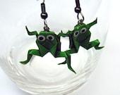 origami frog dangle earrings
