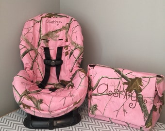 ALL PINK realtree CAMO fabric Toddler Car Seat Cover  & Diaper Bag Set 2pc