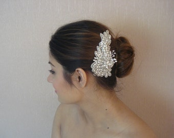 Bridal Rhinestone Hair Comb, Wedding Freshwater Pearls, Crystal Headpiece - Evelyn