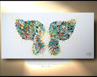 "Butterfly textured modern contemporary abstract CUSTOM Painting ""Enchantment"" Wall Art Canvas Abstract Oil Original Canvas Abstract OTO"
