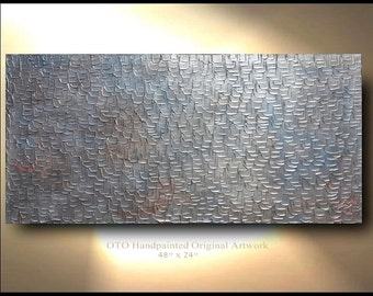 Abstract Painting Abstract art Metallic Silver Grey Bronze Copper Art Canvas  oil Contemporary Artwork Textured art by OTO