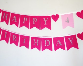 4th birthday happy birthday banner girl, birthday felt banner , felt garland , fabric happy Birthday banner fabric