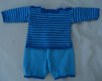 Baby boy's sweater/jumper and shorts outfit, hand knitted in blue stripes, age approx 0-3 months, 16 ins chest