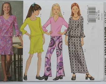 Girls Size 12 14 16 Butterick 3218 Easy Wardrobe Clothes Top Shirt Blouse Skirt Pants Teens  UNCUT Simplicity 2491 Sewing Pattern