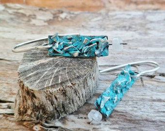Moonstone Earrings. Moonstone And Oxidized Silver Earrings. Blue Patina Earrings. Dangle Earrings. Ethnic Earrings. Mineral Earrings.