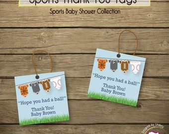 24 Sports Body Suit Thank You Tags, Printed & Shipped to your Doorstep!
