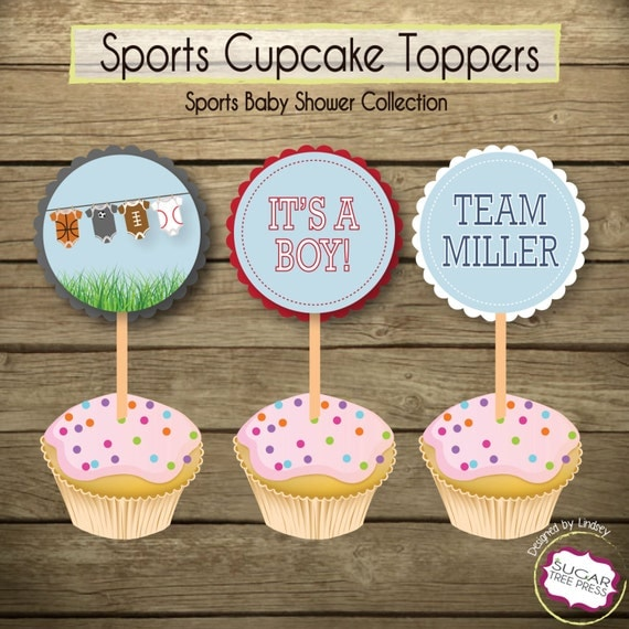 sports baby shower cupcake toppers digital file