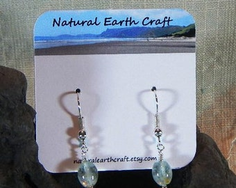 Sky blue aquamarine earrings rice shaped pale blue March October birth stone semiprecious stone jewelry in a gift bag 2896