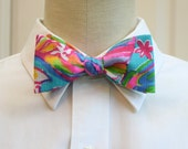 Men's Bow Tie, sea blue Summer Haze, groomsmen's gift, wedding party bow tie, turquoise pink bow tie, groom bow tie, Lilly wedding bow tie,