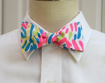 Men's Bow Tie in Lilly hot pink Palm Reader, self-tie bow tie, groomsmen's gift, wedding party wear, turquoise teal, groom bow tie, prom tie