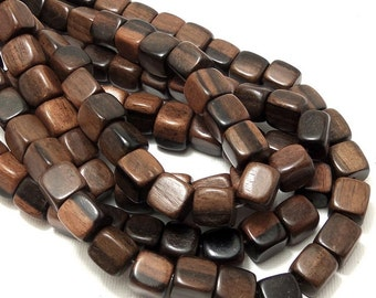 Tiger Ebony Wood, 9mm - 10mm, Cube, Square, Light Brown, Black, Banded, Natural Wood Beads, Smooth, Large, Full Strand, 40pcs - ID 1377-LT