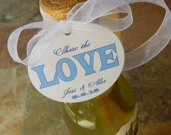 """50 Mini Wine or Champagne Bottle Custom 2"""" Favor Tags - For Engagement - Wedding - Bridal or Baby Shower - Share the Love Thank You Tags"""